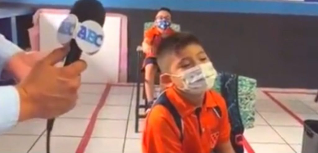 A child's viral response on his return to school